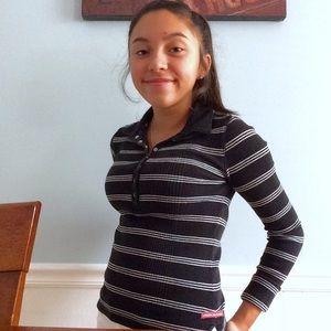 black and white stripe collared shirt